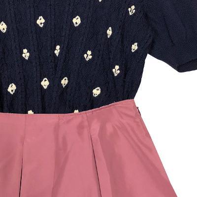 embroidery twist knit & mini gored skirt